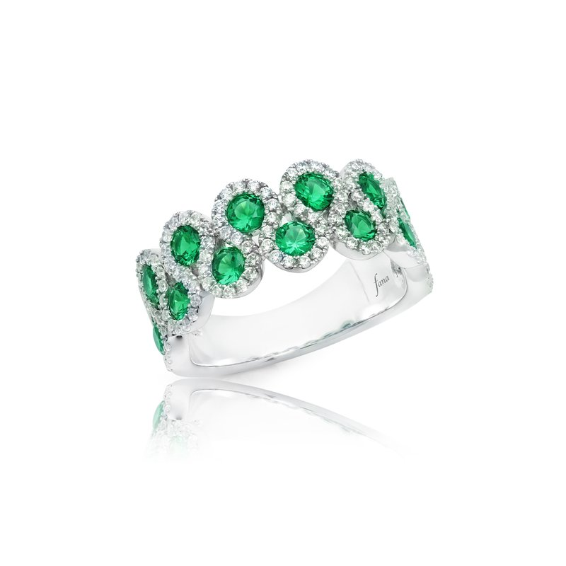 Fana Melody of the Heart Emerald and Diamond Wave Ring