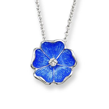 Blue Rose Necklace.Sterling Silver-White Sapphire