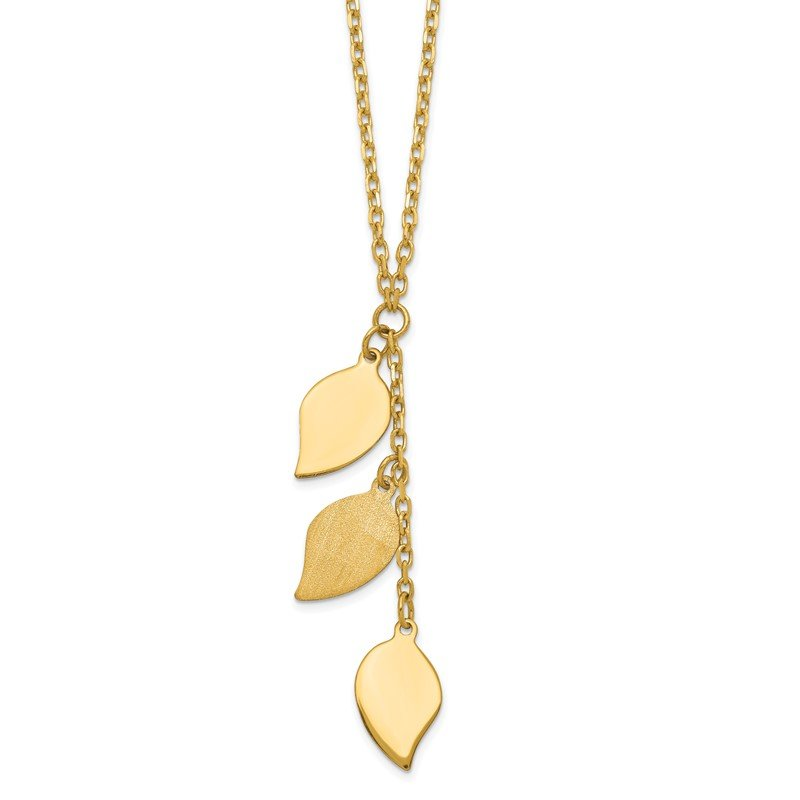 Quality Gold 14K Brushed & Polished w/2 in ext Leaf Necklace