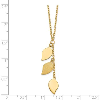 14K Brushed & Polished w/2 in ext Leaf Necklace