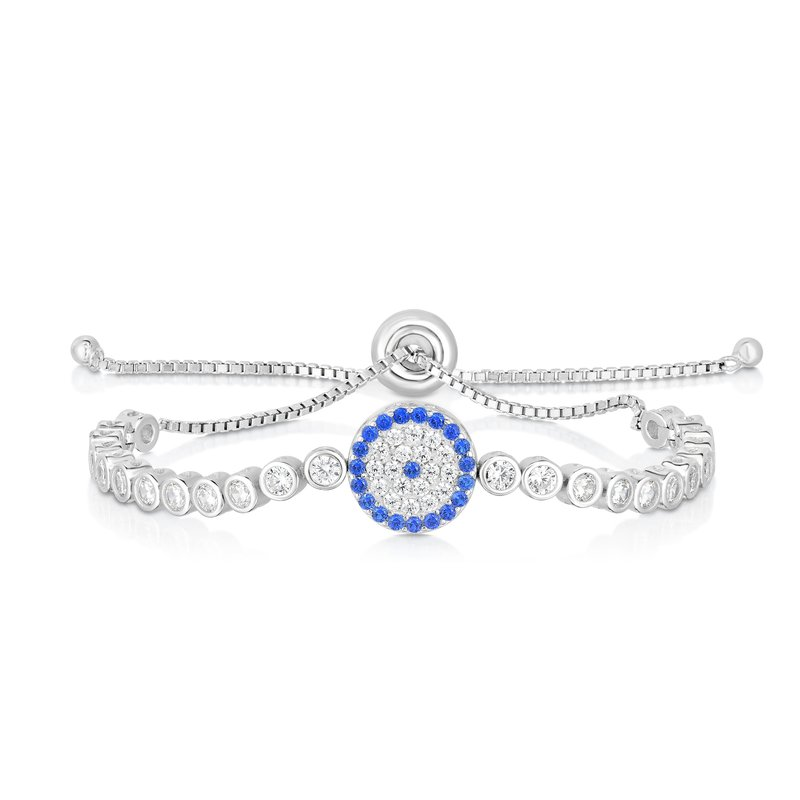 Royal Chain Sterling Silver CZ Round Evil Eye Friendship Bracelet