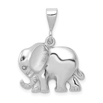 14k White Gold Elephant Charm