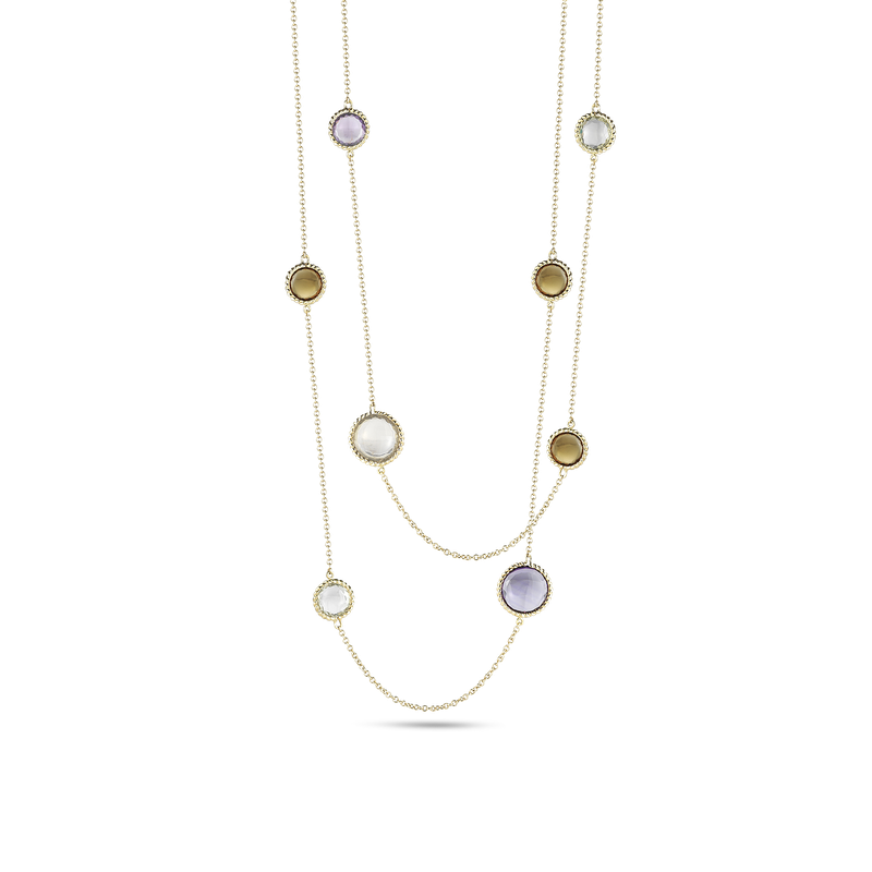 Roberto Coin Necklace With Semi Precious Stone Stations