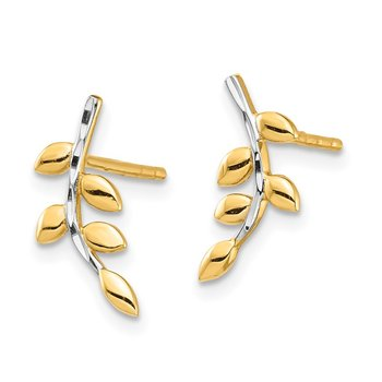 14K & White Rhodium Leaves Post Earrings