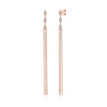Rose Gold Pear Shaped Dangling Tassel Earrings