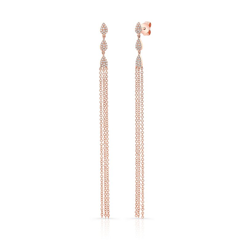 Robert Palma Designs Rose Gold Pear Shaped Dangling Tassel Earrings