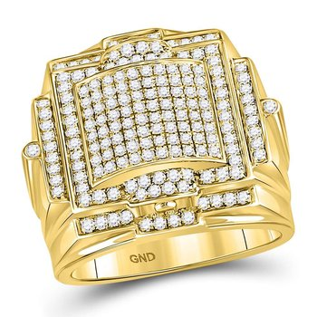 10kt Yellow Gold Mens Round Diamond Square Big Look Cluster Ring 1-1/2 Cttw