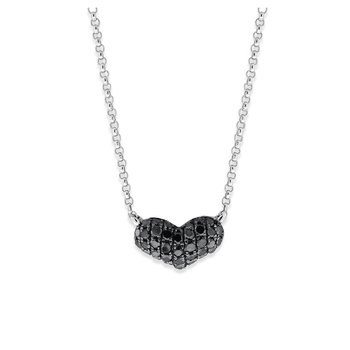 Black Diamond Heart Necklace in 14K White Gold with 37 Diamonds Weighing .20 ct tw