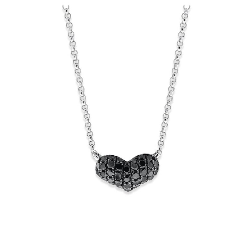 KC Designs Black Diamond Heart Necklace in 14K White Gold with 37 Diamonds Weighing .20 ct tw