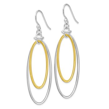 Leslie's Sterling Silver Gold-tone 18K Flash-plated Dangle Earrings