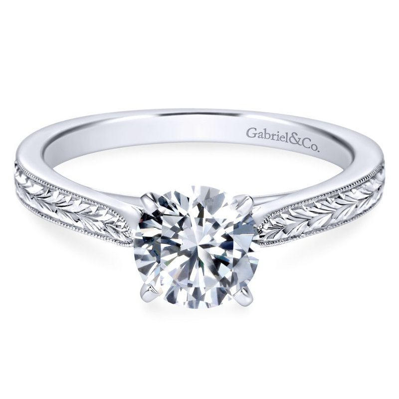 Gabriel Bridal 14k White Gold Straight Milgrain and Hand Etched Engagement Ring