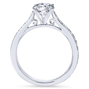 14k White Gold Straight Milgrain and Hand Etched Engagement Ring