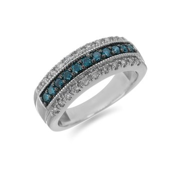 14K WG Three Row Diamond Band with Blue Diamonds Center Row Separated by a Milgrained Edge in Plate Prong Setting