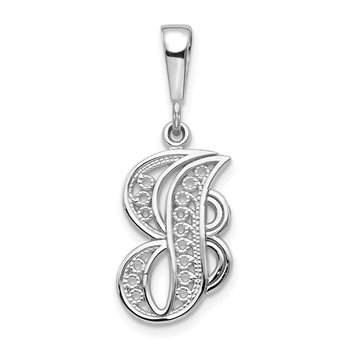 14KW White Gold Solid Polished Script Filigree Letter J Initial Pendant