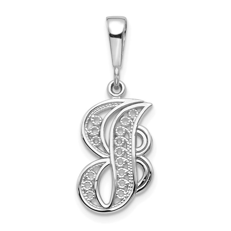 Quality Gold 14KW White Gold Solid Polished Script Filigree Letter J Initial Pendant