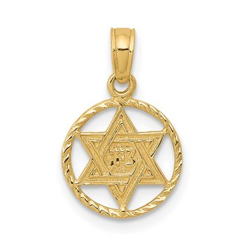 14K Star of David in Circle Frame Pendant
