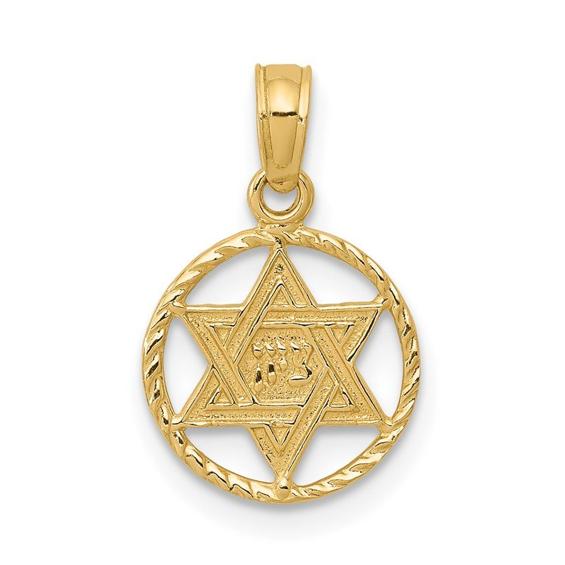 Quality Gold 14K Star of David in Circle Frame Pendant