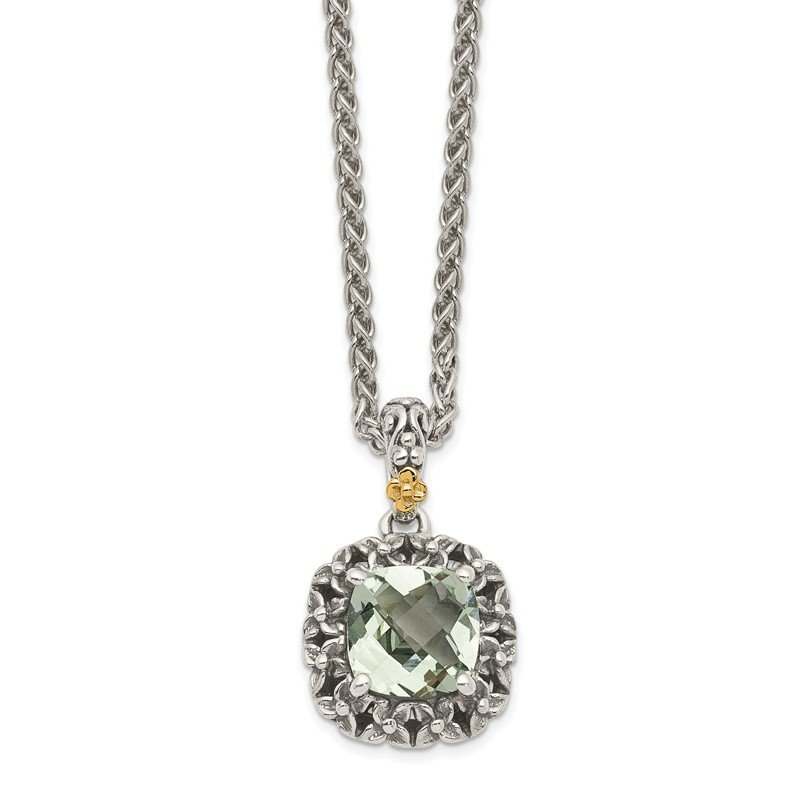 Quality Gold Sterling Silver w/ 14k Polished Green Quartz Necklace