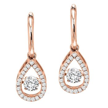 14KP Diamond Rhythm Of Love Earrings 3/4 ctw