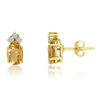 14k Yellow Gold Oval Citrine Earrings with Diamonds