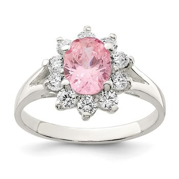 Sterling Silver Pink Oval CZ Cluster Ring