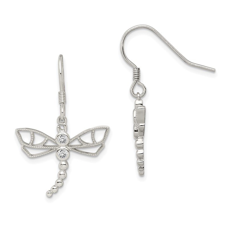 Quality Gold Sterling Silver CZ Dragonfly Earrings