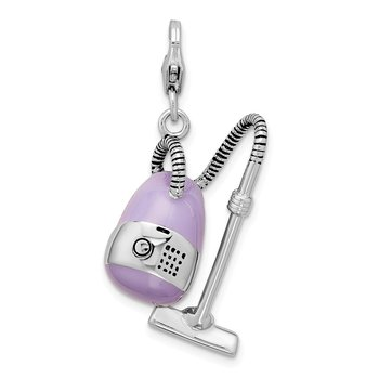 Sterling Silver 3-D Enameled Vacuum Cleaner w/Lobster Clasp Charm