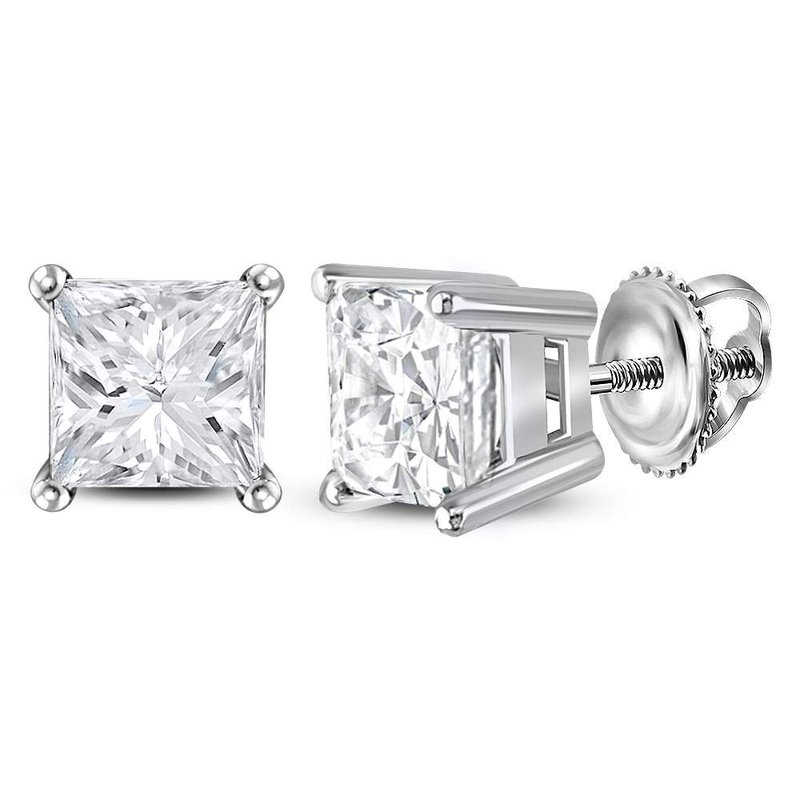 Kingdom Treasures 14kt White Gold Unisex Princess Diamond Solitaire Stud Earrings 1-3/8 Cttw