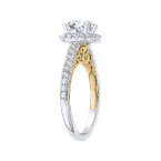 Carizza 14K Two-Tone Gold Round Diamond Halo Engagement Ring (Semi-Mount)
