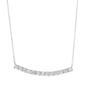 Diamond Curved Bar Pendant Layer Necklace in 14k White Gold (½ ctw)