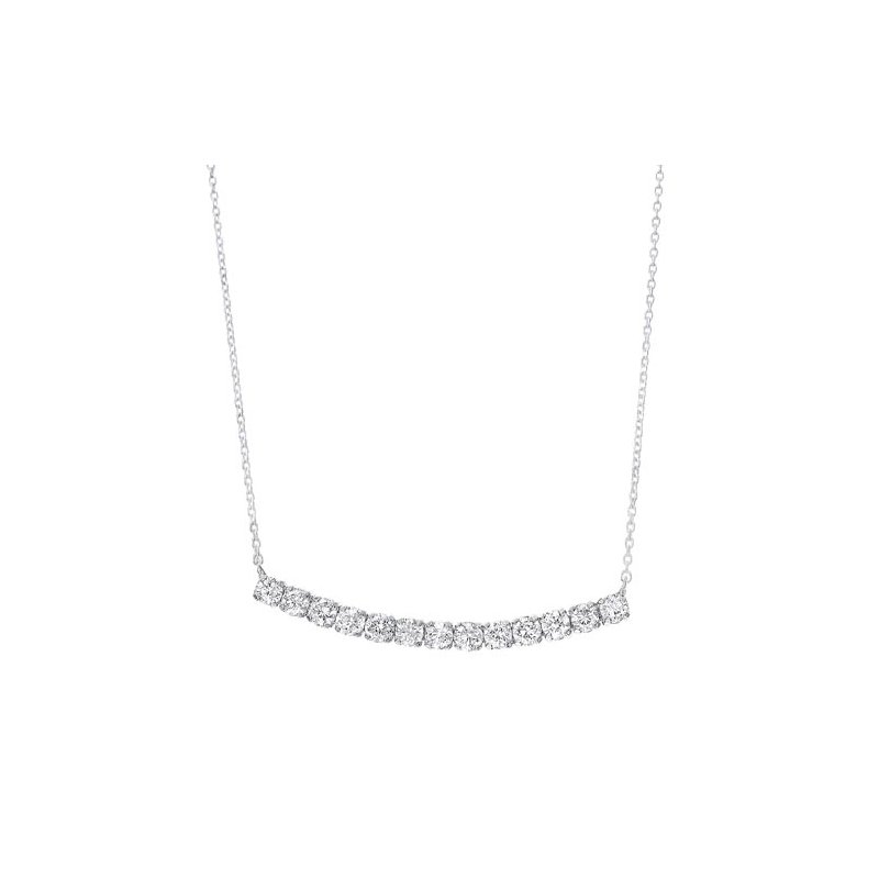 Gems One Diamond Curved Bar Pendant Layer Necklace in 14k White Gold (½ ctw)