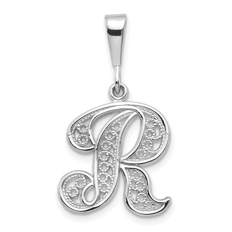 Quality Gold 14KW White Gold Solid Polished Script Filigree Letter R Initial Pendant