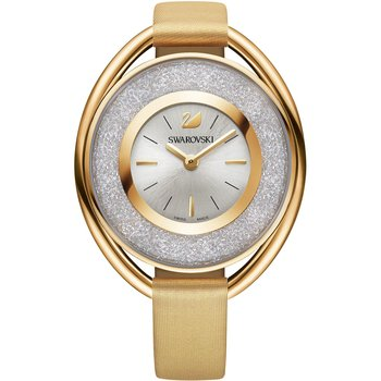 Crystalline Oval Watch, Fabric strap, Yellow, Gold-tone PVD