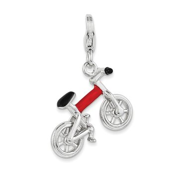 Sterling Silver 3-D Enameled Bicycle w/Lobster Clasp Charm