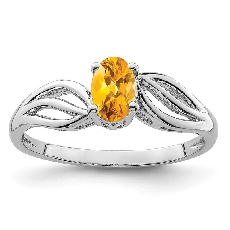 Fine Jewelry by JBD Sterling Silver Rhodium-plated Citrine Ring