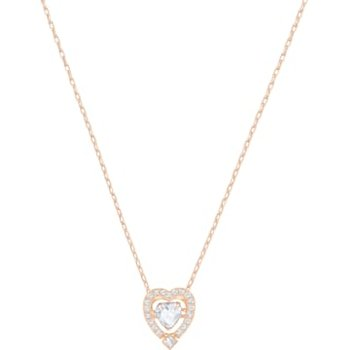 Swarovski Sparkling Dance Heart Necklace, White, Rose-gold tone plated