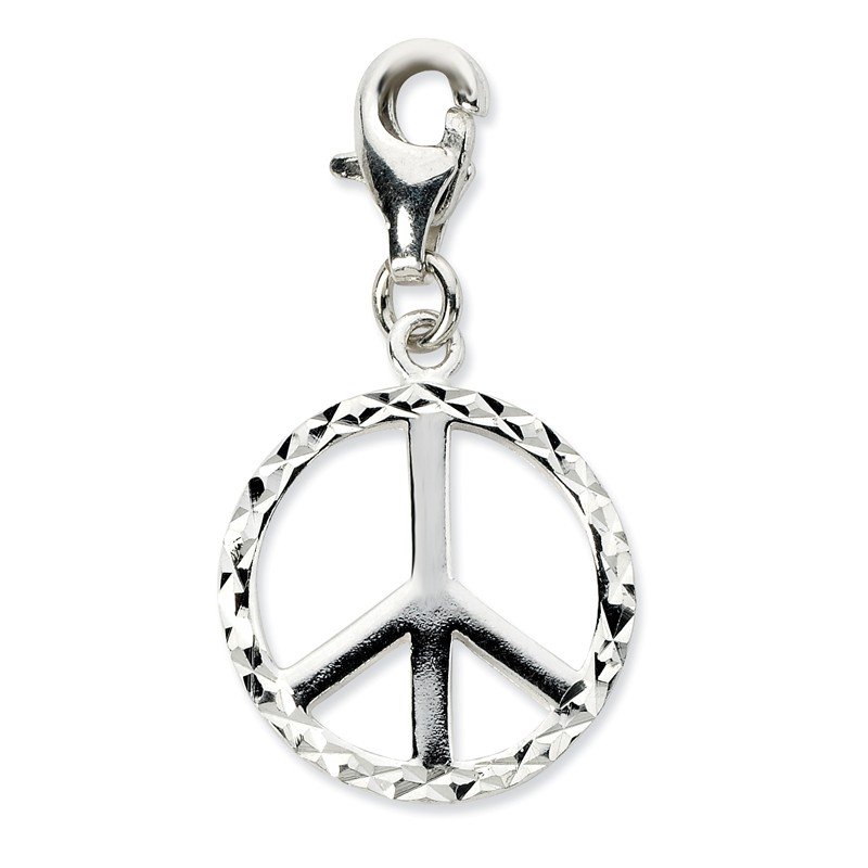 925 Sterling Silver Rhodium-plated Enameled Peace Sign with Lobster Clasp Charm