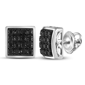 Sterling Silver Mens Round Black Color Enhanced Diamond Square Cluster Earrings 3/4 Cttw