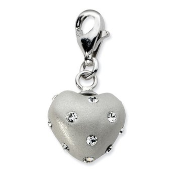 Sterling Silver Click-on White Ferido & Stellux Crystal Heart Charm