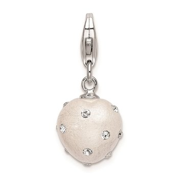 Sterling Silver RH Click-on White Ferido & Stellux Crystal Heart Charm