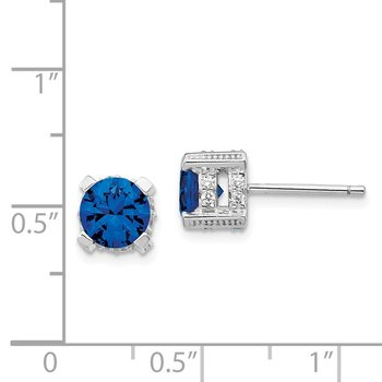 Cheryl M Sterling Silver 6.5mm Lab created Dark Blue Spinel & CZ Stud Earri
