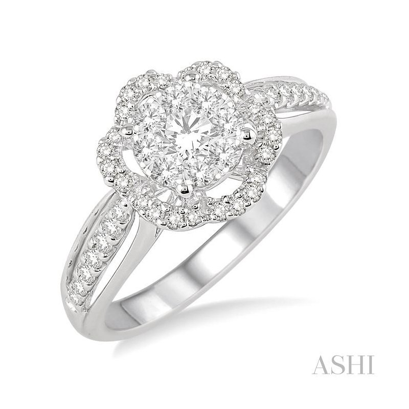 Gemstone Collection flower shape lovebright bridal diamond engagement ring