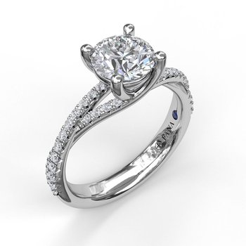Subtle Twist Pave Band Engagement Ring