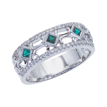 14k White Gold Emerald Diamond Open Band