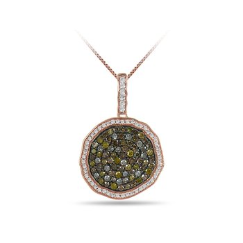 10K RG and Multi colored Diamond irregular shape Pendant Pave Set