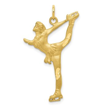 10k Solid Diamond-cut Figure Skater Charm
