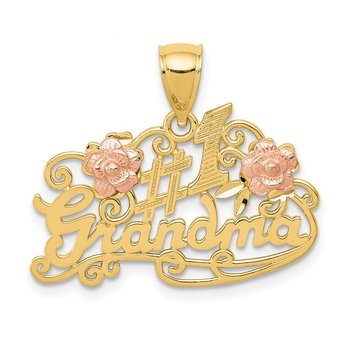 14k Yellow & Rose Gold #1 GRANDMA with Roses Pendant