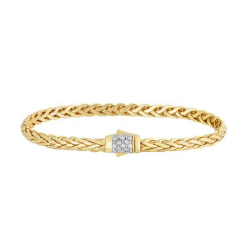 14K Gold Woven Diamond Pave Lock Bracelet