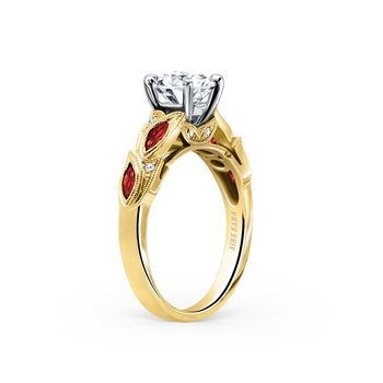 Ruby Diamond Botanical Engagement Ring