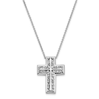 Sterling Silver CZ Antiqued I Will Carry You Always 18in. Necklace